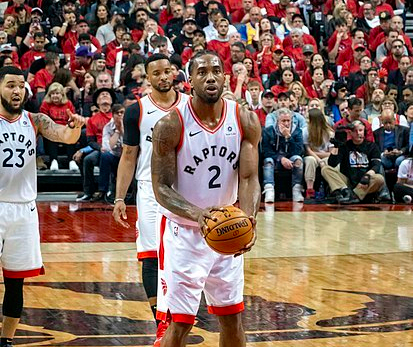 Kawhi Leonard taking free throw during the 2019 NBA Finals against the Golden State Warriors.